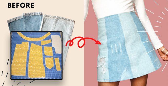 Cómo convertir jeans viejos en una falda con patrones